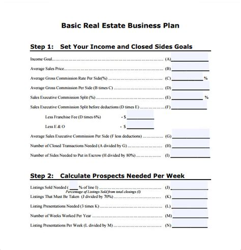 business plan schedule template sle real estate business plan template 6 free