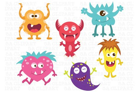 cute little monsters clipart illustrations on creative