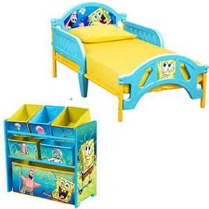 spongebob toddler bed and multi bin organizer bundle