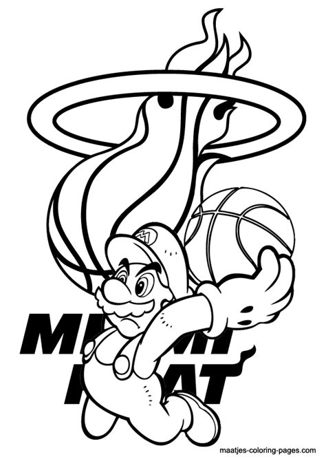mario basketball coloring pages miami heat and super mario nba coloring pages