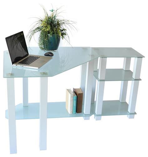 Right White Tempered Glass Corner Computer Desk Modern White Glass Corner Desk