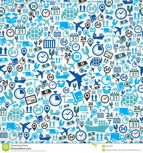 icon pattern svg shipping logistic seamless pattern blue icon set b royalty