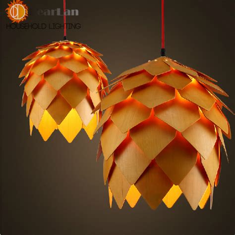 Creative Hanging Lights Modern Wooden Pendant Light E27 Creative Wood Hanging Ls Decoration Light Fixture For