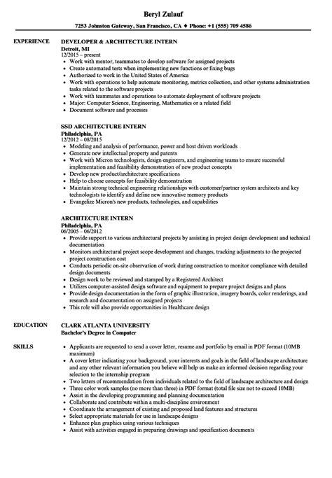 architecture intern resume sles velvet