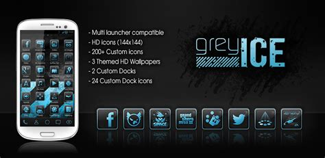 themes hd for android greyice hd theme for android feature graphic by