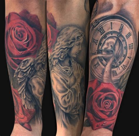 rose and angel sleeve tattoo black and grey with clock and on arm