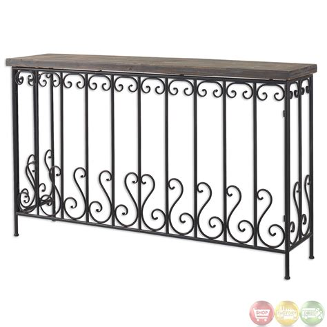 wrought iron console table geena forged wrought iron wood top console table 24328