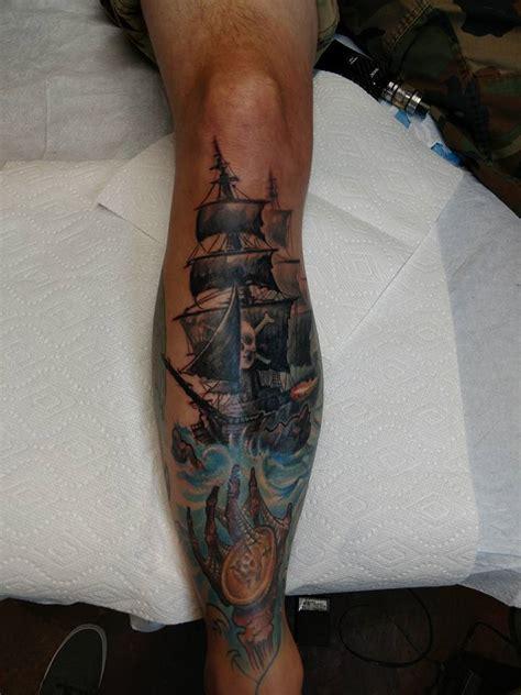 vertigo tattoo 2nd session on leg sleeve by nathan petz vertigo