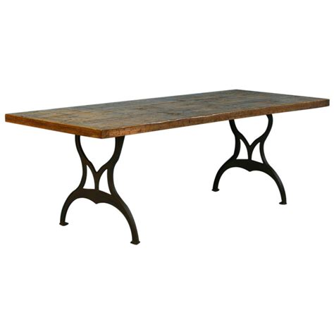 Vintage Industrial Look Dining Table from Reclaimed Wood and Cast Iron Legs at 1stdibs