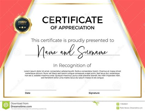 merit badge award card template certificate of appreciation or achievement with award