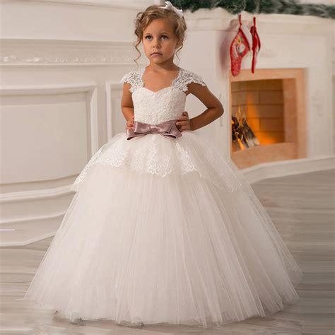 FG1204 Cute Ball Gown Flower Girl Dresses 2017 Cheap Cap