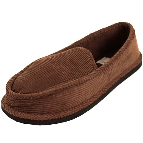 Mens Slippers House Shoes Corduroy Color Slip On Moccasin Comfort Indoor Outdoor