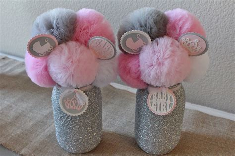 pink gray baby shower decorations baby shower