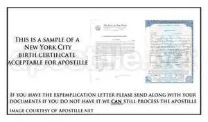 Birth Certificate Letter Of Exemplification New York Apostille Apostille Service By Apostille Net