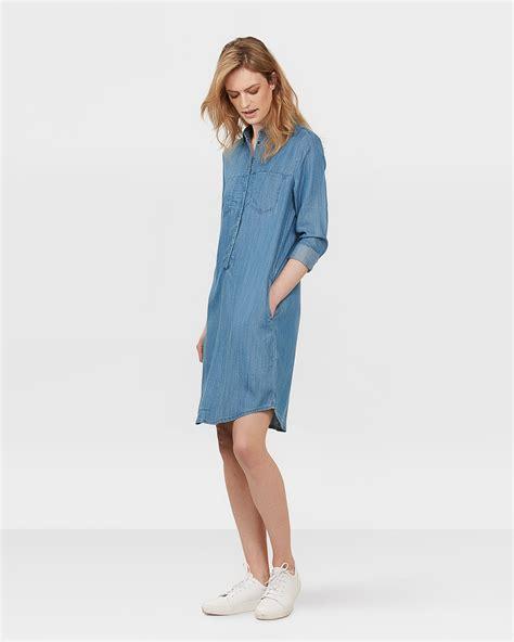 blauwe overhemd jurk dames lyocell denim overhemd jurk 79661775 we fashion