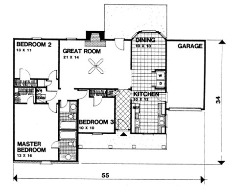 1350 Sq Ft House Plan Ranch Style House Plan 3 Beds 2 Baths 1350 Sq Ft Plan 30 127
