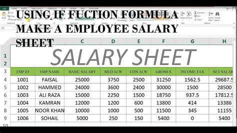 format excel salary sheet calculation how to make salary sheet in ms excel 43 youtube