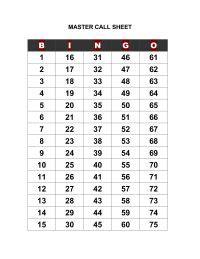 printable bingo numbers to call free printable bingo call sheet bingo pinterest
