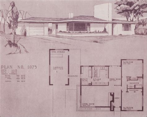 mid century ranch house plans with porches and basement