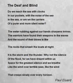 blindness deafness the deaf and blind poem by paul eluard poem