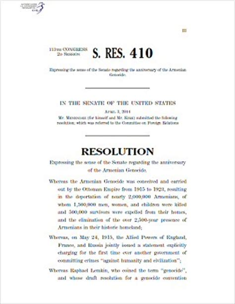 student congress resolution template armenian national committee letter to senator markey
