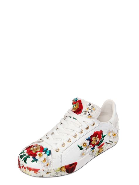 dolce and gabbana shoes dolce gabbana 20mm floral embellished leather sneakers