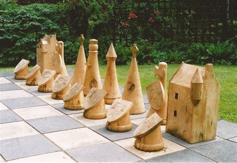 diy chess set diy outdoor chess pieces google search landscape