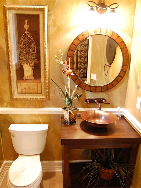 Small Guest Bathroom Ideas Traditional Brown And Gold Guest Bathroom With Oval Mirror Hgtv
