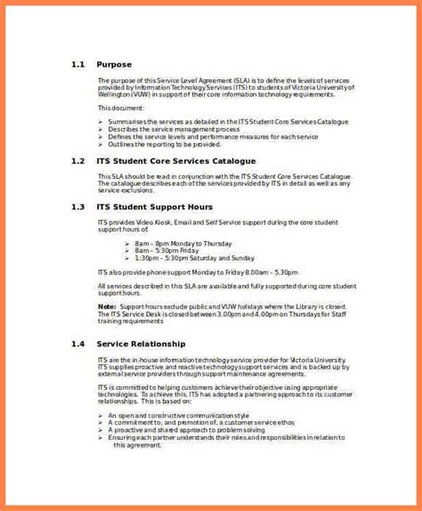 4 Shared Services Service Level Agreement Template Purchase Agreement Group Shared Services Sla Template