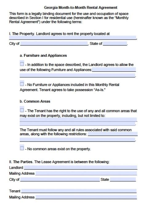 Free Georgia Month To Month Lease Agreement Pdf Word Doc Month To Month Lease Agreement Template
