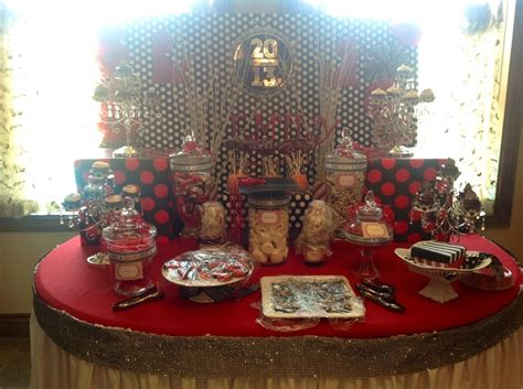 black white red graduation candy and dessert buffet