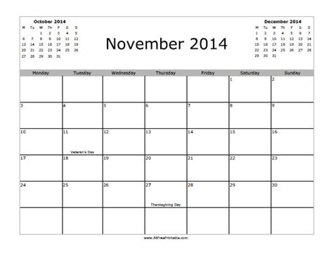 printable monthly calendar november 2014 november 2014 calendar free printable allfreeprintable com