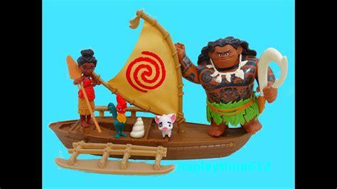 moana playset with boat disney moana adventure canoe demigod maui toys review