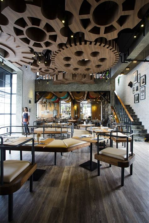 interiors cuisine restaurants with striking ceiling designs