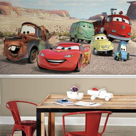disney cars wall mural roommates 72 in x 126 in disney cars desert xl chair rail 7 panel pre pasted wall mural