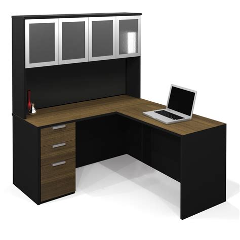 modern black desk with drawers l shaped computer desk made from teak wood material mixed