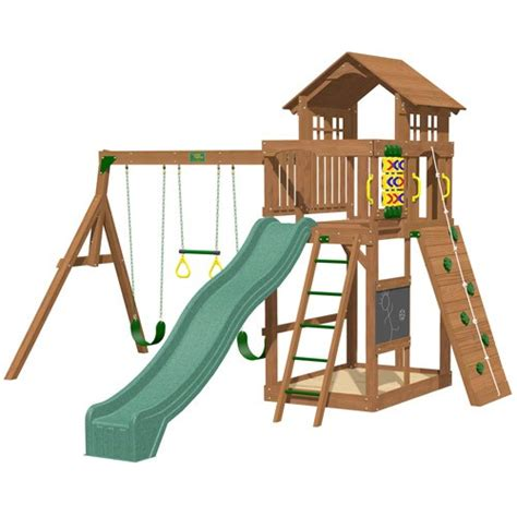 lifetime 10 foot a frame swing set playtime seminole swing set with 10 ft green wave slide