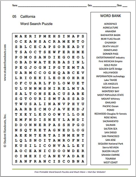 Free Search California California Word Search Puzzle Student Handouts