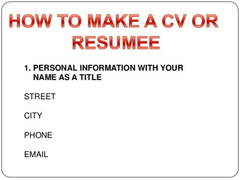 how to make a cv or resumee
