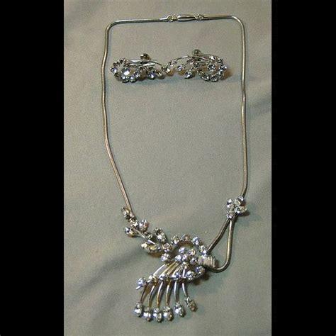 sparking krementz necklace and earrings set demi parure