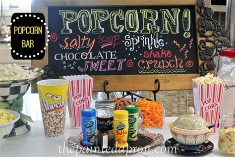 popcorn bar toppings party panache popcorn bar the painted apron