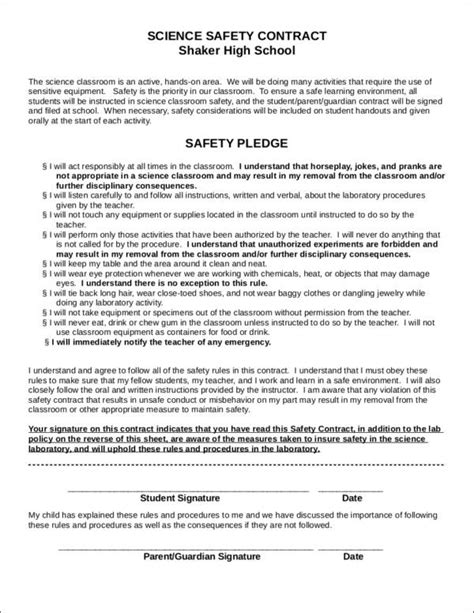 contract for safety template 14 safety contract sles templates free word pdf