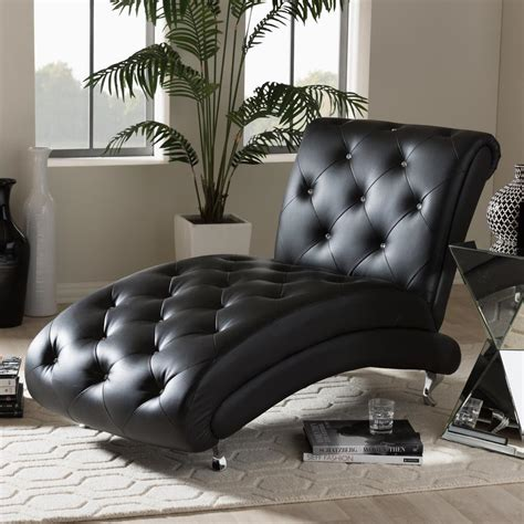 baxton studio chaise baxton studio pease glam black faux leather upholstered