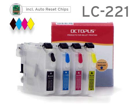 chip resetter für brother druckerpatronen refillable cartridges for brother lc 221 with autoreset