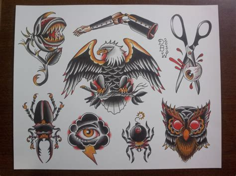 traditional flash tattoo oddities traditional flash sheet