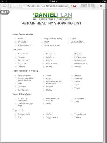 Daniel Plan Detox by The Daniel Plan Shopping List Trying To Eat Healthy
