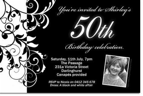 Black And White Birthday Invitation Card Template by Free Black And White Birthday Invitations Design Free