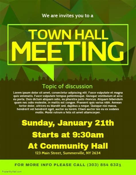 Town Hall Meeting Flyer Postermywall Pinterest Town Hall Meeting Town Hall And Flyer Design Town Invite Template