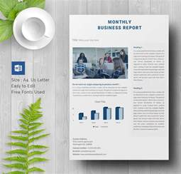 monthly business report template 17 business report templates free sle exle