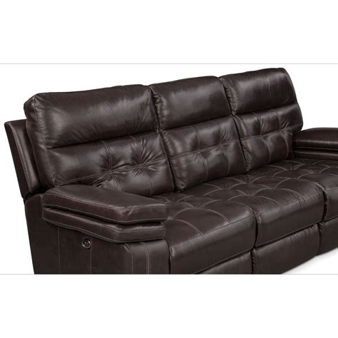 value city reclining sofa brisco power reclining sofa and glider recliner brown